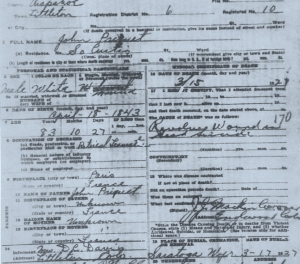 Death Certificate for John Bap
